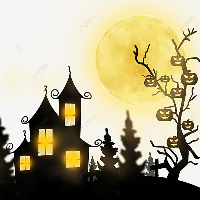 halloween golden moonlight horror haunted house