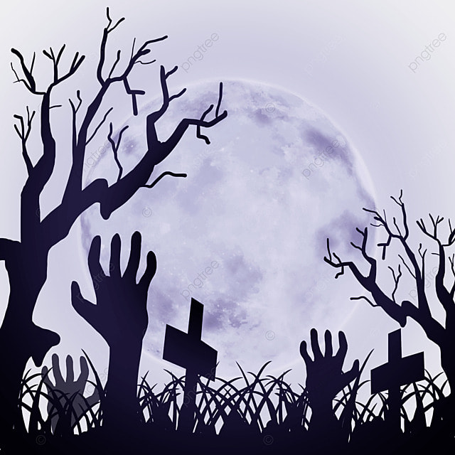 halloween horror cemetery and dead branches