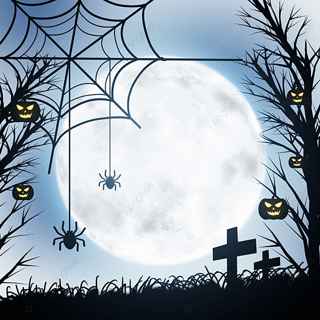 halloween horror haunted house and spider web