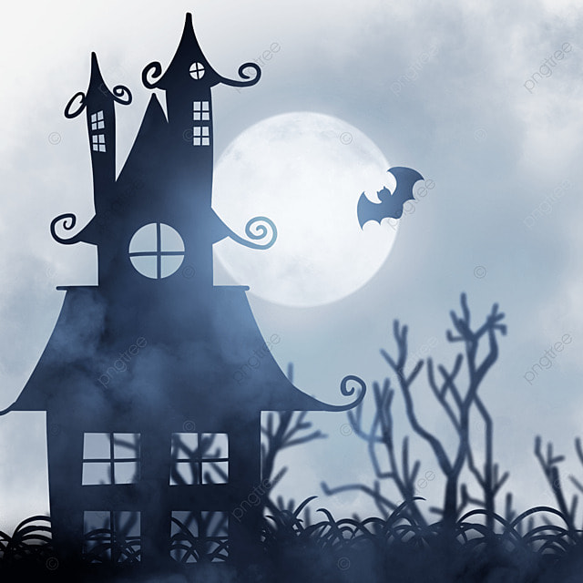 halloween horror haunted house moon and cemetery