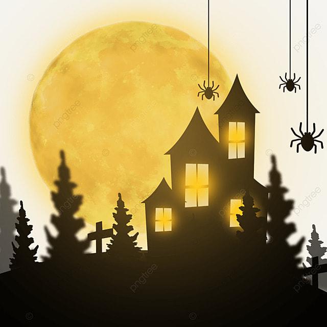 halloween horror haunted house moon sky
