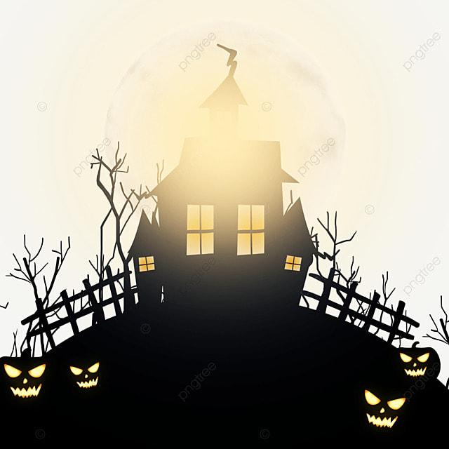 halloween horror moonlight haunted house decoration