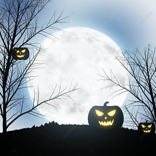 halloween horror pumpkin moon background