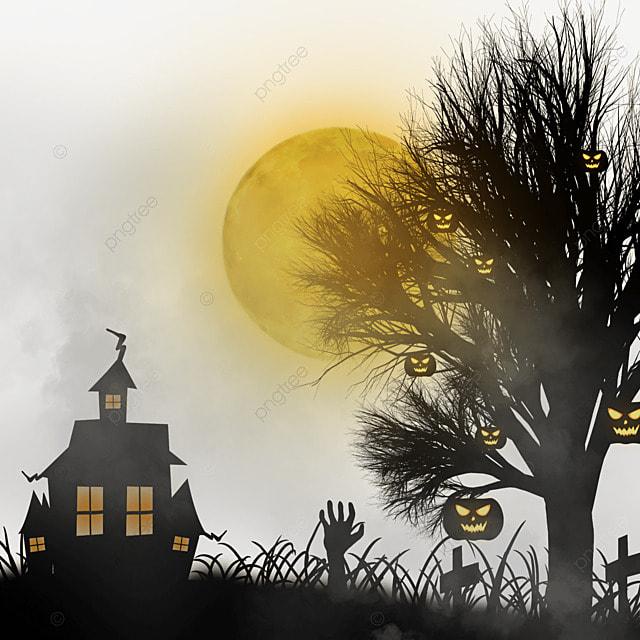 halloween orange moon night haunted house