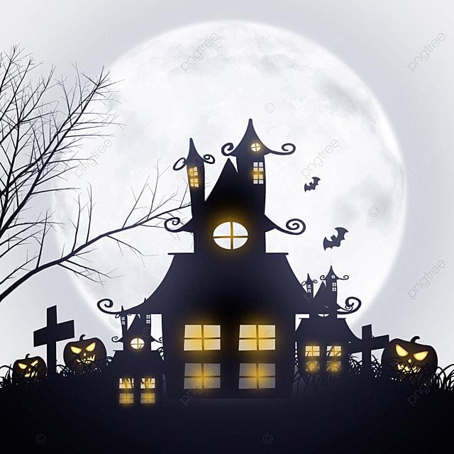 haunted house under halloween moonlight