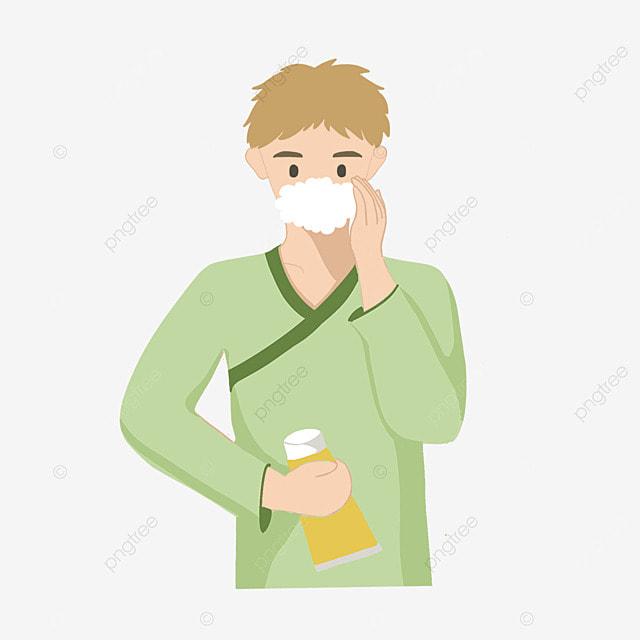 mens cartoon bathrobe facial cleaning