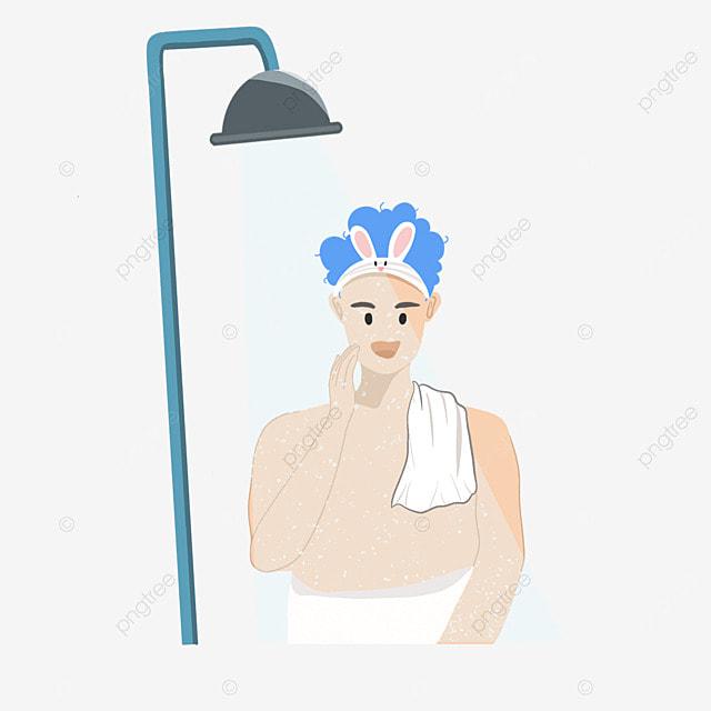 mens cartoon cute character bath cleaning