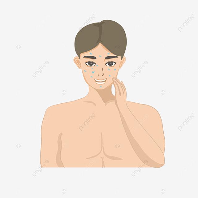 mens cartoon facial cleaning concept