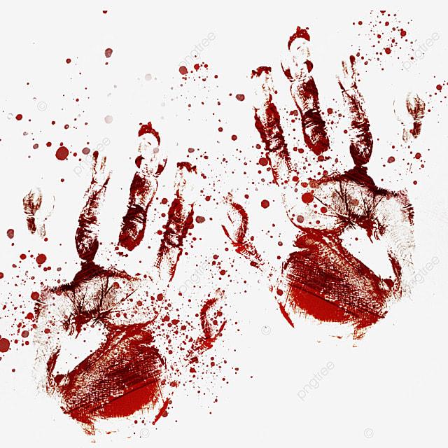 palm print red blood blur graffiti