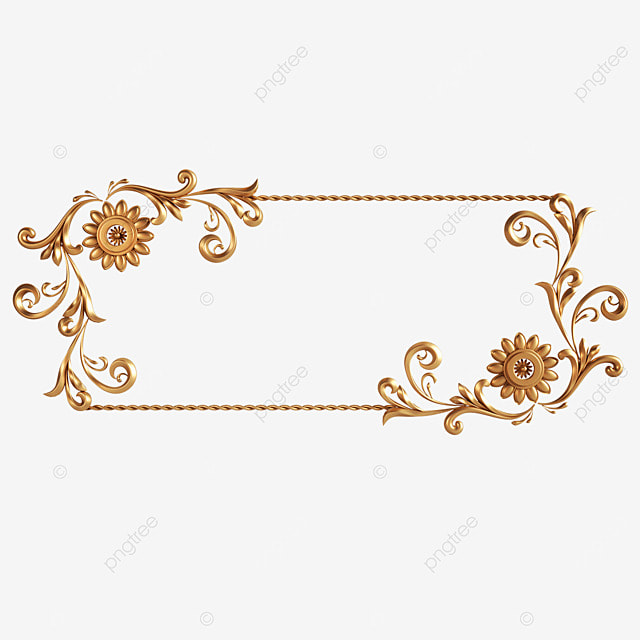 rectangular golden flower three dimensional frame