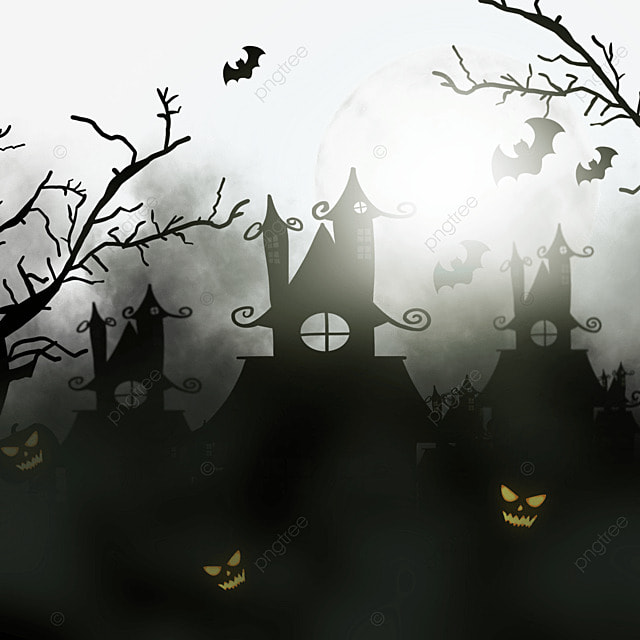 scary haunted house under halloween clouds