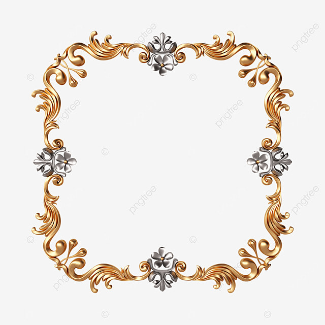 square gold and silver exquisite frame