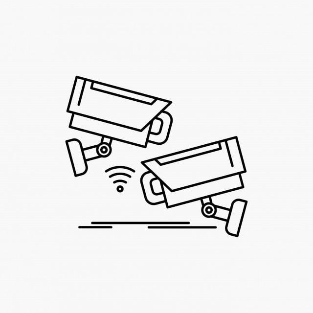 Cctvcamerasecuritysurveillancetechnology Line Icon Vect