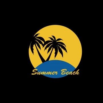Summer Logo Vector,beach Logo Palm And Wave Icon Design, Summer