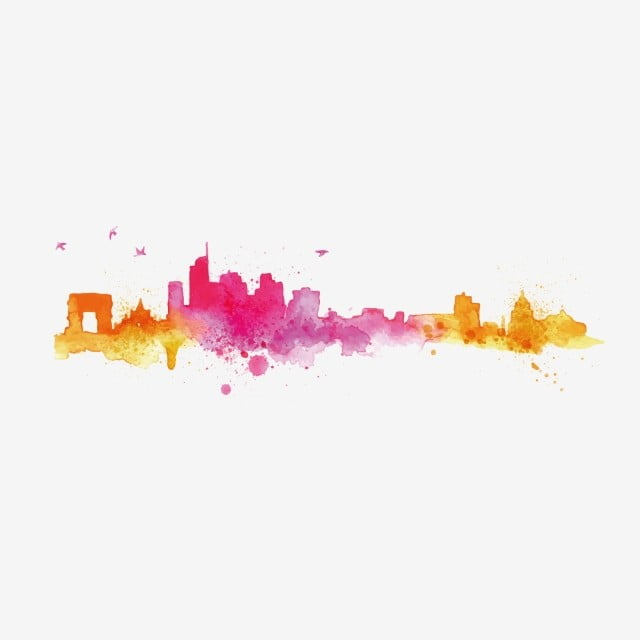 city silhouette hand painted 300 pixel map painted
