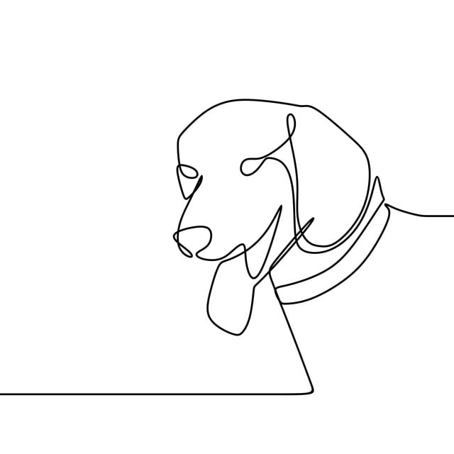 Cabeza De Perro Vector Con Una Sola Linea De Arte Dibujo Diseño