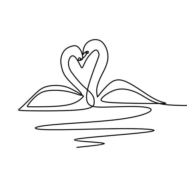 Goose Uno Dibujo Pareja Romántica Ilustración Vectorial Continuo