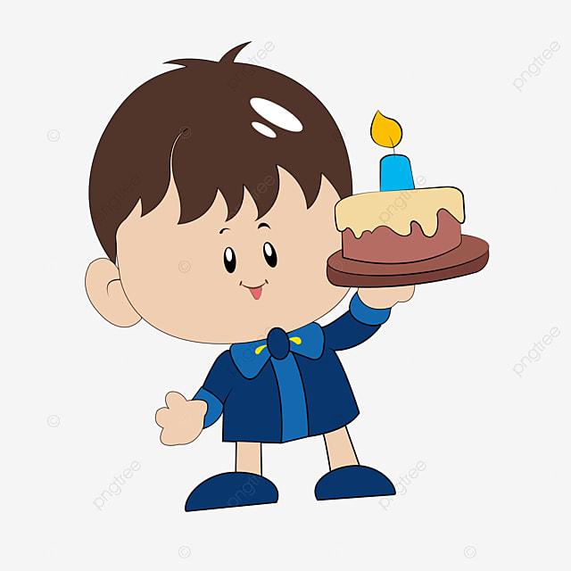 Petit Garçon Tenant Un Gâteau Gâteau Anniversaire Petit Garçon