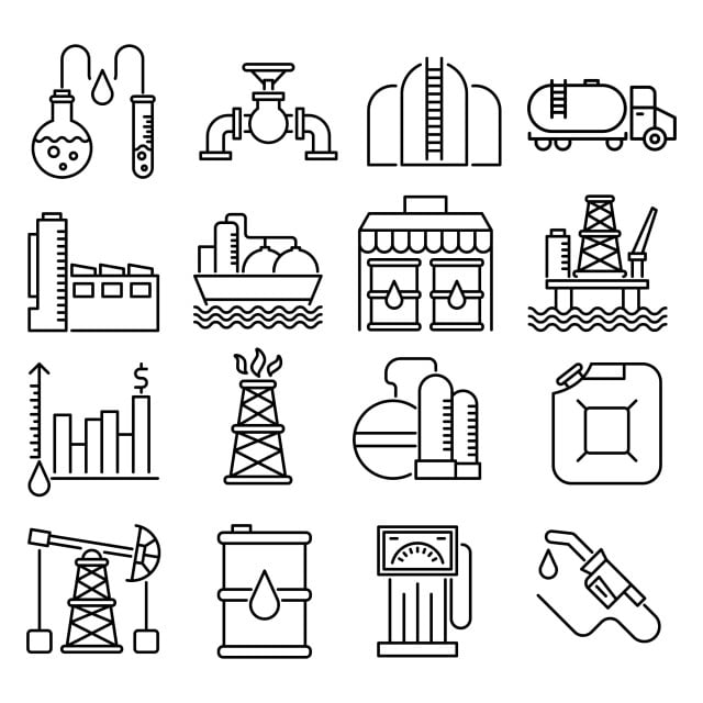 oil industry outline icons set  chemical analysis