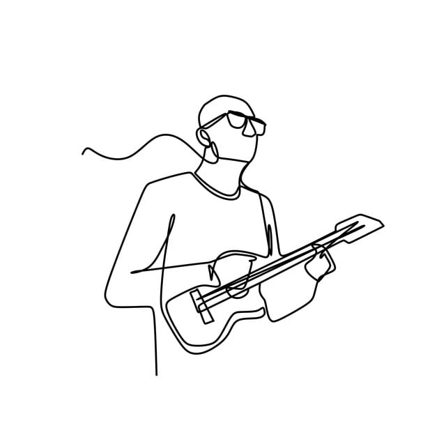 One Line Drawing Of A Male Man Playing Ukulele Guitar Vector