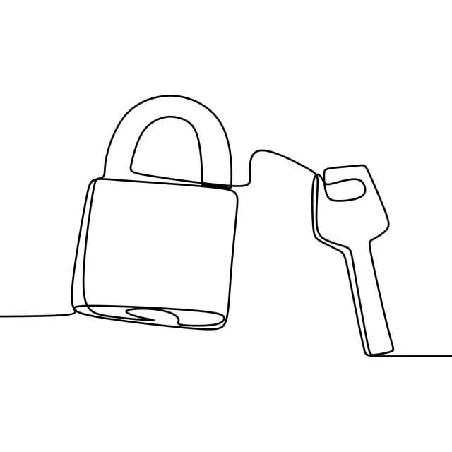Uma Linha De Desenho De Um Cadeado Chave Ilustração Vetorial
