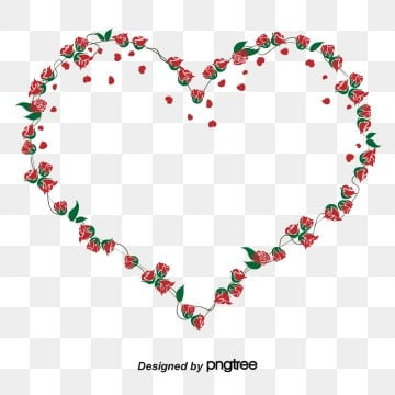 Red Heart Rose Green Leaf Creative Border, Originality, Heart-shaped, Romantic PNG and Vector