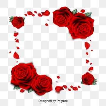Vector Illustration of Red Rose Petal Borders Romantic Valentines Day Borders, Valentines Day, Romantic, Rose PNG and Vector