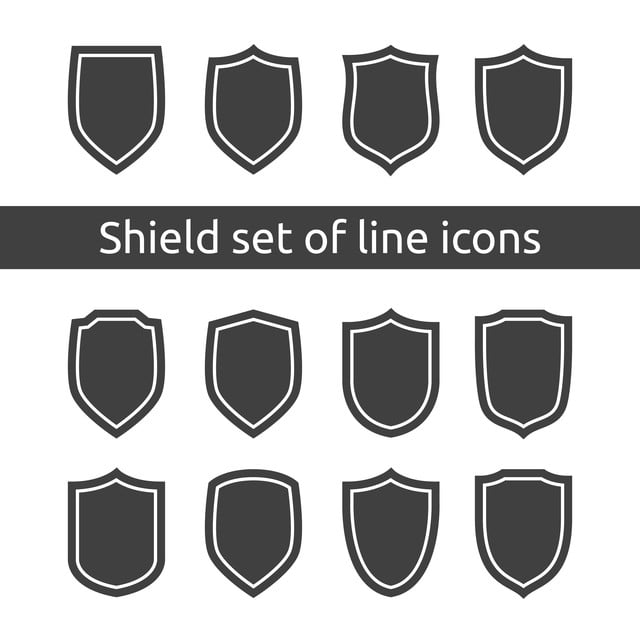 Shield Logo Symbol Icon Set With Outline Line Style Vector