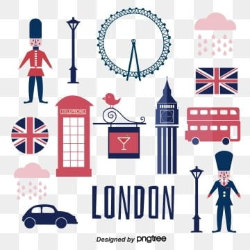 Characteristic Elements Design of Big Ben Scenic Spot of Red and Blue London Soldier Telephone Booth Flag, London, London Bus, Silhouette PNG and Vector