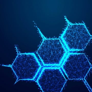 molecule structure icon form lines and triangles point connecting network on blue background  abstract low poly triangle dot line polygon  shine blue background vector illustration, Molecule, Poly, Low PNG and Vector