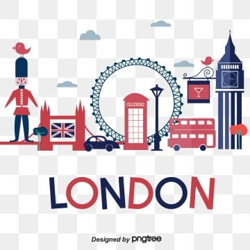 red blue bus soldier london horizon scenic spot characteristic element design silhouette national flag