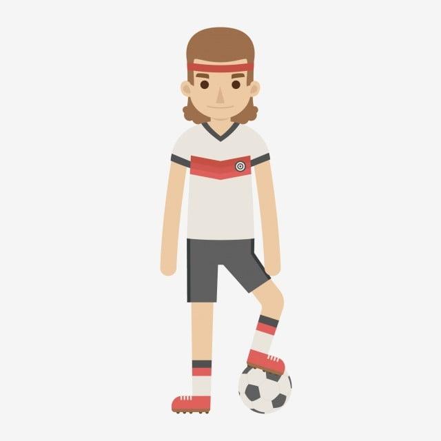 Karikatur Comic Junge Athlet Fussball Karikatur