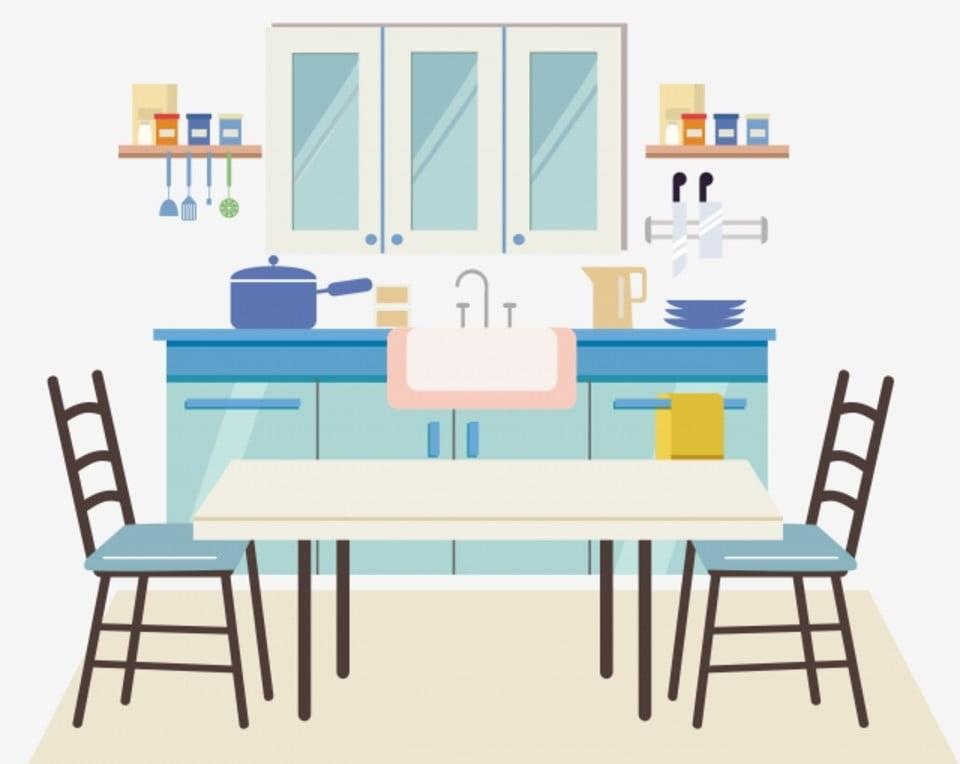 الكرتون رسمت باليد طاولة طعام كرسي مطعم مطبخ أدوات المطبخ Png والمتجهات للتحميل مجانا