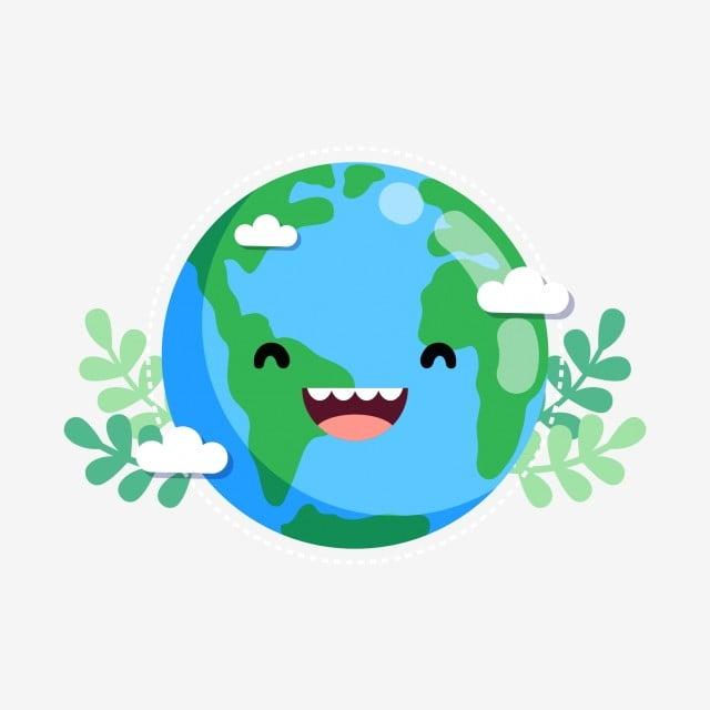 Lovely Cute Cartoon Cartoon Earth Earth Leaf, Green Leaf ...
