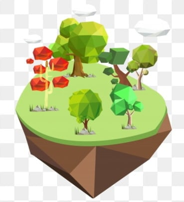 cartoon hand painted lowpoly polygon style, Big Tree, Plant, Low Polygon PNG and Vector