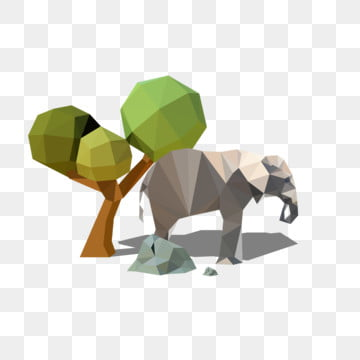 low polygon abstract resting elephant green tree, Stone, Poster, Ppt PNG and Vector