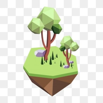 low polygon low poly style trees grassland, Rocky Soil, Protect Environment, Green Vegetation PNG and Vector