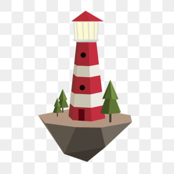 seaside lighthouse polygon low poly style trees, Suspended Island, Red Way Road Lighthouse, Poster Design PNG and Vector
