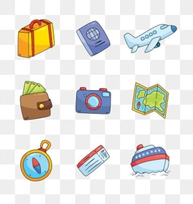 travel travel icon cartoon cartoon icon, Trip Clipart, Trunk, Passport PNG Images and vector graphics