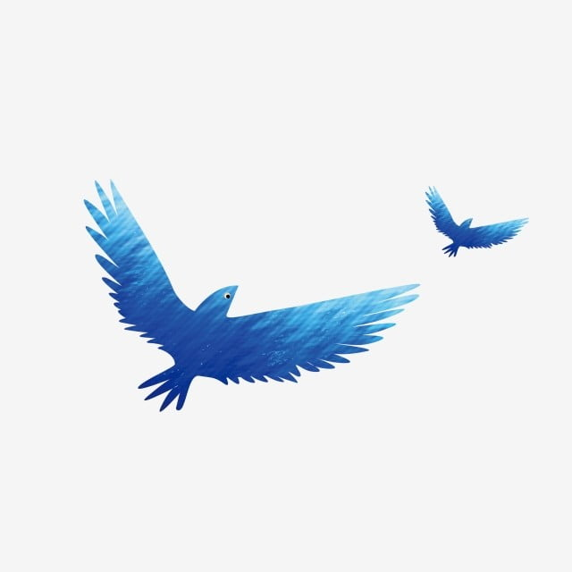 Blue Bird Flying Bird Cartoon Blue Gradual Blue Sky Flying Bird Png And Vector With Transparent Background For Free Download