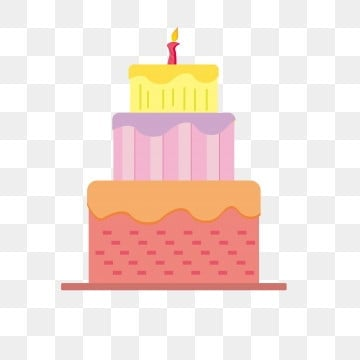 Birthday Cake Cartoon Three Layer Happy Holiday One Year Old