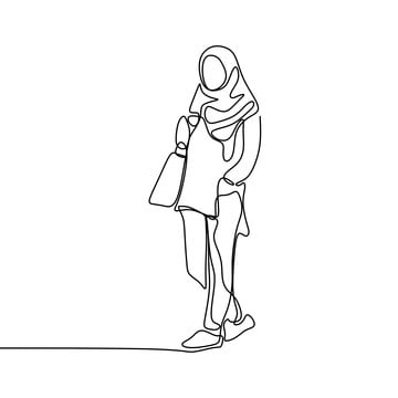 trendy hijab girl wearing modern fashion with one continuous line art  drawing vector illustration minimalist design