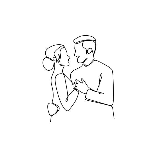 Linha Continua Desenho Do Casal Apaixonado Concept Vector