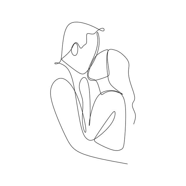 الزوجان الحب مع واحدة مستمرة سطر واحد الرسم التوضيح النواقل