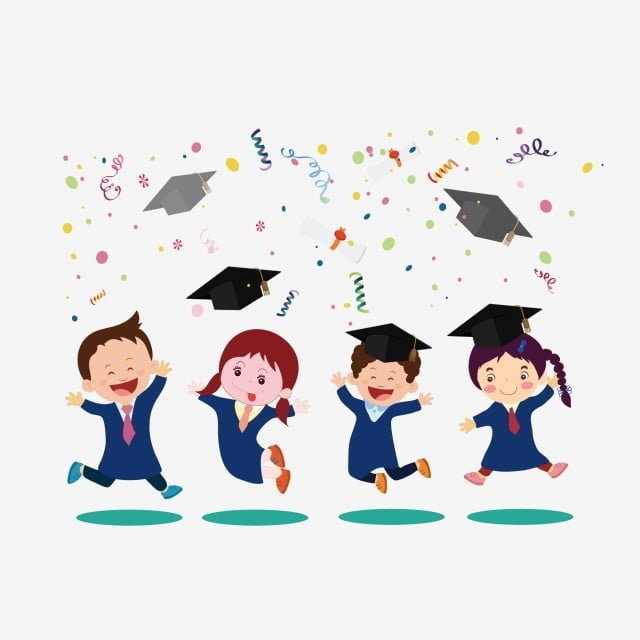 cute style cartoon shape college students graduation photo