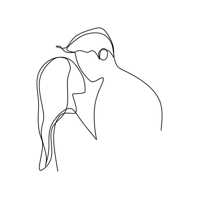 رومانسية زوجين واحد مستمر سطر فن الرسم التوضيح النواقل اسلوب