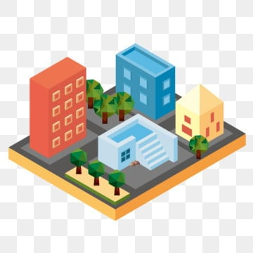 lowpoly low polygon 2 5d stereo mixed style hand drawn illustration, City City, 5d, Stereo PNG and Vector