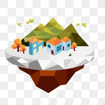 lowpoly stereo low polygon game style small island, Houses, Trees, Big Mountain Stone PNG and Vector