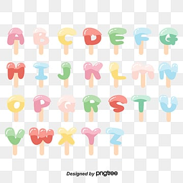 vector flat english alphabet cute ice cream ice lolly art font Fonts