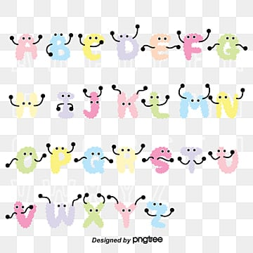 vector flat english alphabet lovely monster art font Fonts